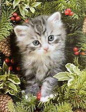 🎄 Leanin' Tree Christmas Card - Cat in Wreath-under tree Kitten