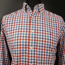 Tommy Hilfiger Mens Shirt LARGE Long Sleeve Multicoloured Custom Fit Check