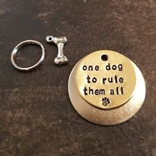 One dog to rule them all Lord of the Rings inspired handmade pet dog ID tags