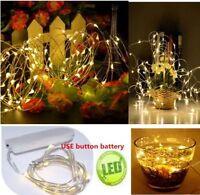 10 Led Draht Lichterkette Batterie Micro Silberdraht Timer warmweiß Wasser 1M