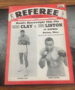 CASSIUS CLAY VS. SONNY LISTON ALI NOVEMBER 21,1964 REFEREE MAGAZINE  NM/MT RARE