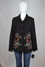 NWT Sag Harbor 8 Black Long Sleeve Blazer with Red, White, and Beige Embroidery