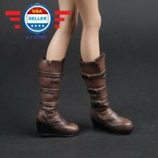 "1/6 BROWN Slope High Heeled Combat Boots For 12"" Female Figure PHICEN"