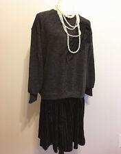 New Women's Evening Party  Loose Dress Long Sleeve Velvet Mini Dress SZ M