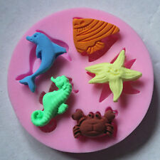 Silicone Sea Animal Moulds Beach Fish Wedding Cake Chocolate Icing Sugarcraft