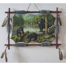 """22""""x16"""" 3 Black Bears Nature Dream Catcher Wall Hang Decor Feathers Wood Frame"""