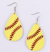 Fashion Softball Baseball Genuine Leather Earrings Spring Summer Sports Jewelry