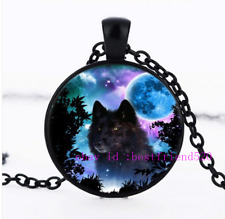 Necklace Wolf Photo Tibet Silver Cabochon Glass Pendant Chain Necklace