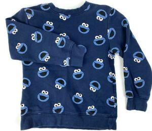 H&M Sesame Street Cookie Monster Sweatshirt Blue Size 4-5 Youth