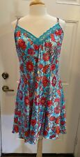 Delicates Satin Blue & Coral Strappy Paisley Floral Print  Nightgown X-Large