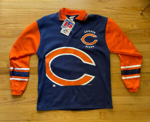 Vintage Chicago Bears Button Up Sweater 1995 NWT Team Rated NFL Orange And Blue