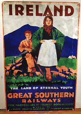 Ireland Great Southern Railways RR Railroad Land Eternal Youth Heavy Metal Sign