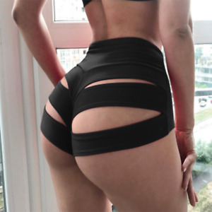 Women's Sexy Pure Color Pole Shorts Brief Knicker Cut Out Panties Dance Wear US
