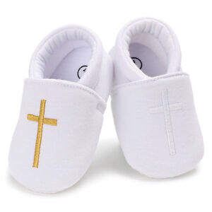 Newborn Baby Boys Girls Christening White Crib Shoes Infant First Shoes 0-18 M