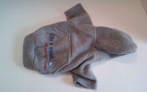 Small Dog Coat Parka Hooded Vest Grey Hook Loop Extra Small XS Soft Washable
