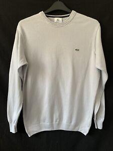 Lacoste Grey Fine Knit Cotton Sweater Jumper Sweatshirt Pullover Men 5 L