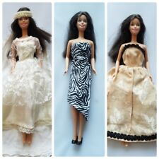 Vintage Handmade Barbie Doll Clothing Formal Dresses Wedding Gown Veil
