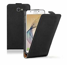 SLIM BLACK Leather Flip Case Cover Pouch For Samsung Galaxy J7 Prime +2 FILMS