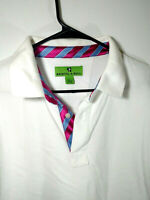 Bristol & Bull White Cotton Polo Shirt Mens Size L Large Blue and Pink Accents