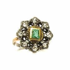 Antiker Smaragd Diamant Ring in 585 Gold & Silber um 1930