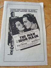 "Old Vintage Paper Hollywood Movie Herald of Movie ""The Man In The Iron Mask"" fro"