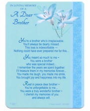 Memorial Grave Card & Spike LOVING MEMORY OF A DEAR BROTHER Sentimental Verse