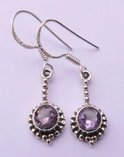 925 Solid Sterling Silver Natural Amethyst Earrings Gemstone 2.20 Gm R-18