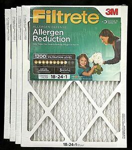 4 Pack 3M Filtrete 18x24x1 Allergen Reduction HVAC Air Conditioning Air Filter