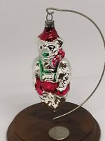 West German Antique Figural Glass BOWTIE BEAR Christmas Ornament, Red & Green