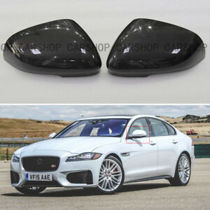 For Jaguar XE XK XF XJ XKR 12-18 Dry Real Carbon Fiber Side Mirror Cover Cap Add