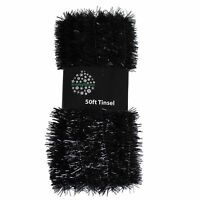 Christmas Tree Decoration 50ft x 3cm Tinsel Great Value - Black