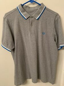 Fred Perry Polo Shirt XL Grey Blue White