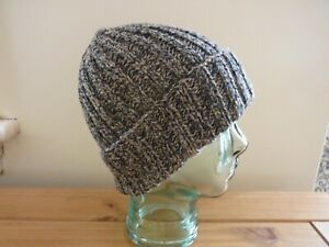 A man's hand knitted pure Shetland wool ribbed beanie hat in black, grey, brown,