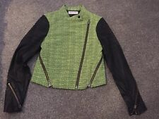 Finders Keepers Lime Fabric Black Leather Sleeve Biker Jacket Zips Size S 8