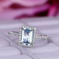 2.50Ct Emerald Cut Aquamarine Diamond Halo Engagement Ring 14K White Gold Finish