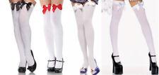 White Black Blue Satin Bow Opaque Stockings Leg Avenue 6255 Thigh High
