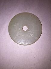 2) large antique JADITE coin white/celedon DONUT w/Hole LIFE rui bats FLOWER