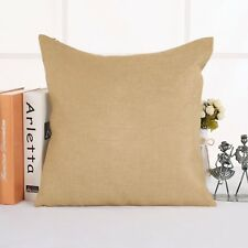 Deconovo Solid Faux Linen Hand Made Cushion Cover Pillow Case 18x18,Light Brown