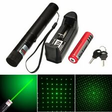 New 10Miles Adjustable Focus Green Laser Pointer Pen 532nm Burning+ 5mW Star Cap