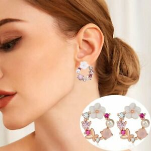 New Colorful Rhinestone Flowers Pearl Drop Earrings Ear Stud Women Jewelry Gifts