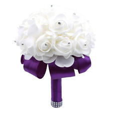 Artificial Flowers Foam Roses with stem Wedding Bride Bouquet Party Decor KY