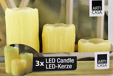 Led Kerze Echtwachs Kerzen 3er SET FLACKERLICHT Wachskerzen Teelicht Kerze