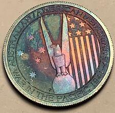 2013 AUSTRALIA AMERICAN WWII 50 CENTS .999 SILVER COLOR UNC BLUE TONED GEM (DR)
