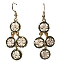Black Gold Enamel Flower Drop Dangle Hook Earrings Women Ladies Dress Jewelry UK