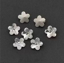 20pcs 10mmm Clear flower rhinestone crystal beads glass foiled foil silver-plat