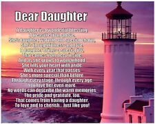 Personalised Dear Daughter Poem Birthday Christmas Gift Present