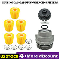 Oil Filter Housing Cap 15620-31060 + Cap Plug + Wrench +5x Filter Fit for TOYOTA