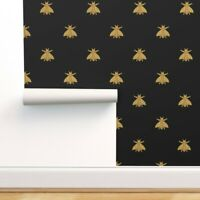Removable Water-Activated Wallpaper Bees Napoleon Bee Gilt Black Antique Gold