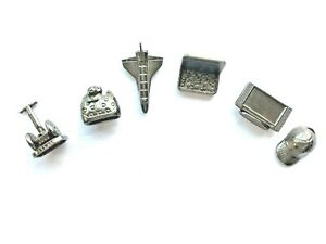 Monopoly Electronic Banking 2007 Pieces All 6 Pewter Tokens Charms Space Shuttle