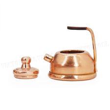 Metal Copper Teapot 1:12 Miniature w/ Lid Handel Tea Set Kitchen Dollhouse Decor